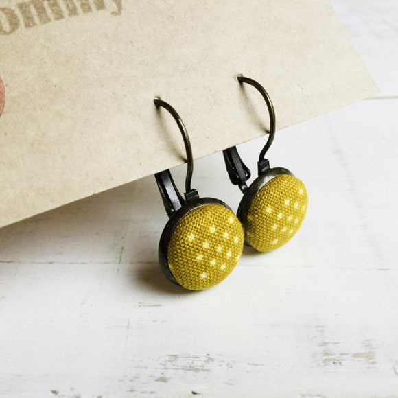 Japanese Fabric Earrings / Polka Dot Dark Mustard