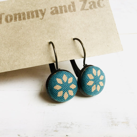 Cotton Fabric Earrings / Teal Green Flower