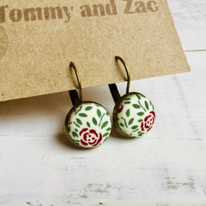 Cotton Fabric Earrings / Red Rose