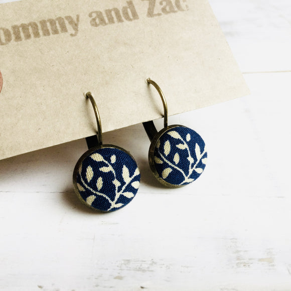 Cotton Fabric Earrings / Navy Flower