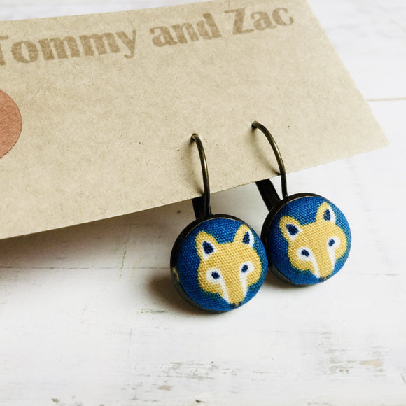Japanese Fabric Earrings / Fox Blue
