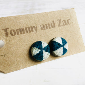 Japanese Fabric Earrings / Navy Blue White Triangles