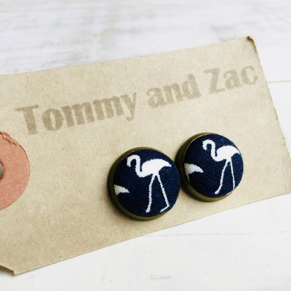 Japanese Fabric Earrings / Flaming Navy Blue