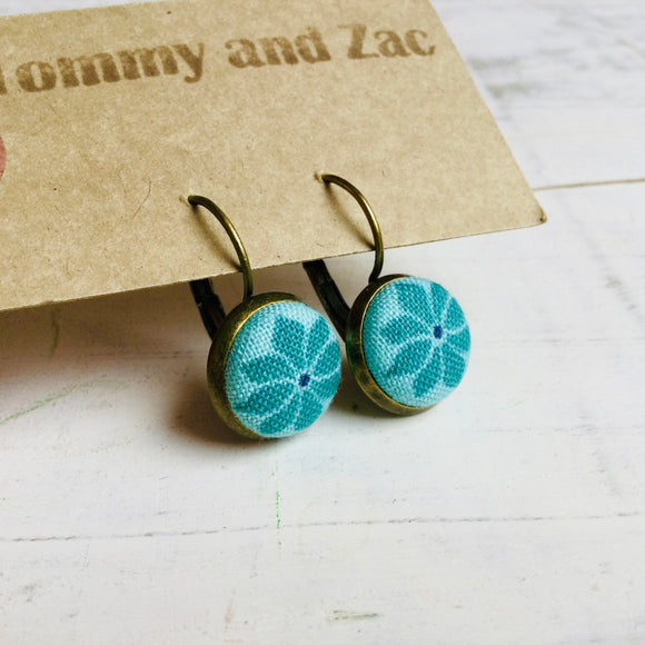 Cotton Fabric Earrings / Circle Light Blue Flower