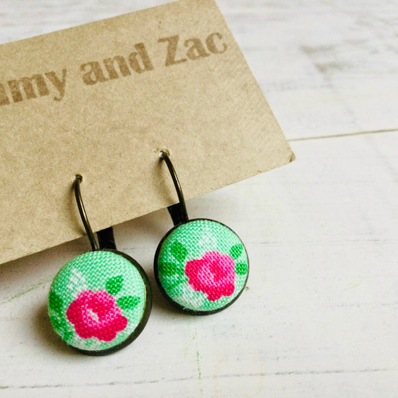 Cotton Fabric Earrings / Pink Rose Green
