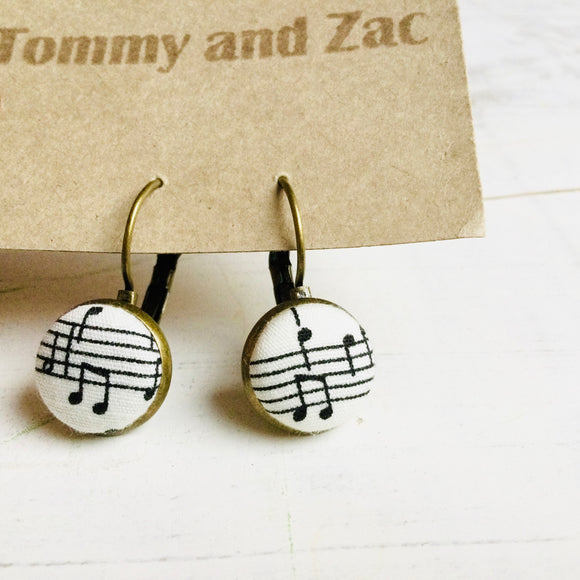 Japanese Fabric Earring / Music notes