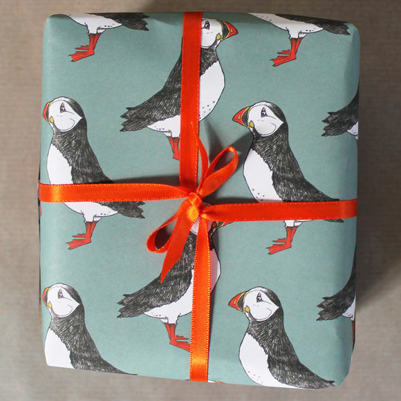 Green Puffin Gift Wrap - 1 folded sheet
