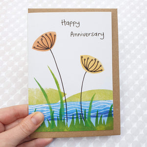 """Happy Anniversary"" Wild flower meadow art card"