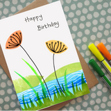 Birthday card - Wild flower meadow