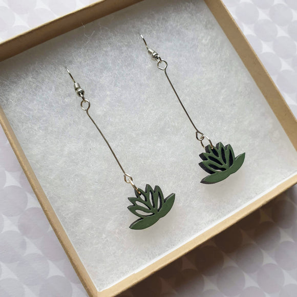 Dangly Lotus Earrings - Khaki/Sage green