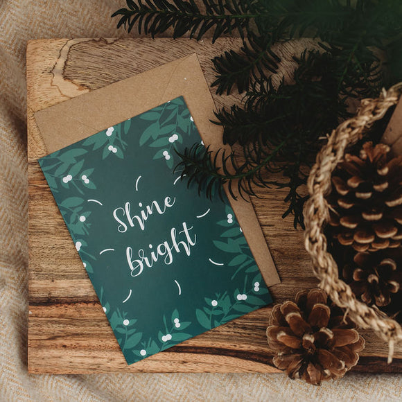 Shine Bright Botanical Christmas Card