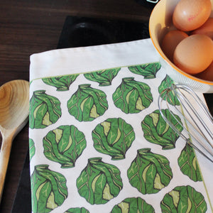 Green Brussels Sprout Christmas Tea Towel
