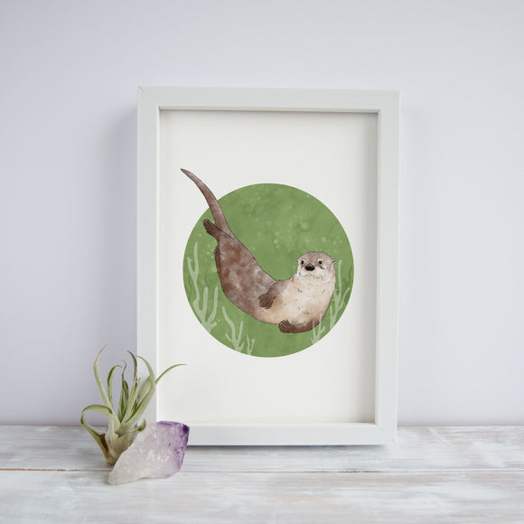 Otter Swimming Print