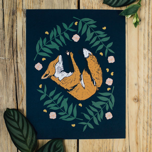 Sleepy Fox A4 Print