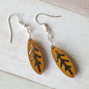 Dangly Leaf Earrings - Wood