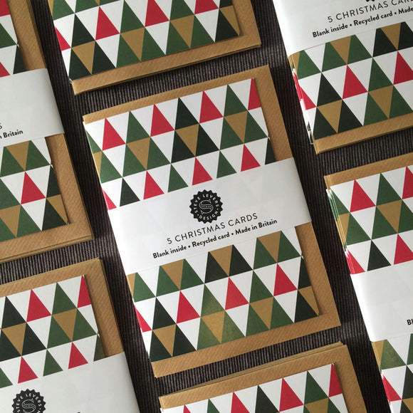 Graphic Pattern Christmas Cards (Pack of 5)