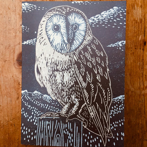 'Barn Owl' Lino Art Card