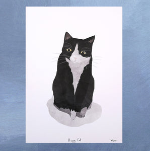 A4 Black and White Cat Digital Print