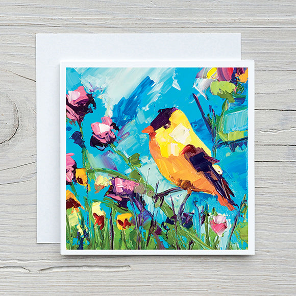 Bird Card 12 - Yellow Bird on Blue