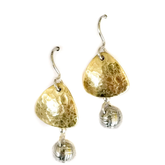 brass drop earring with textured pewter dome.
