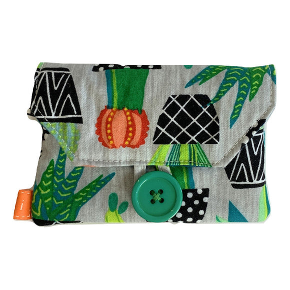 Fabric Purse with Zip Pocket - Cacti