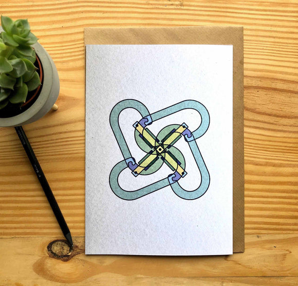Carabiner Climbing Greetings Card A5