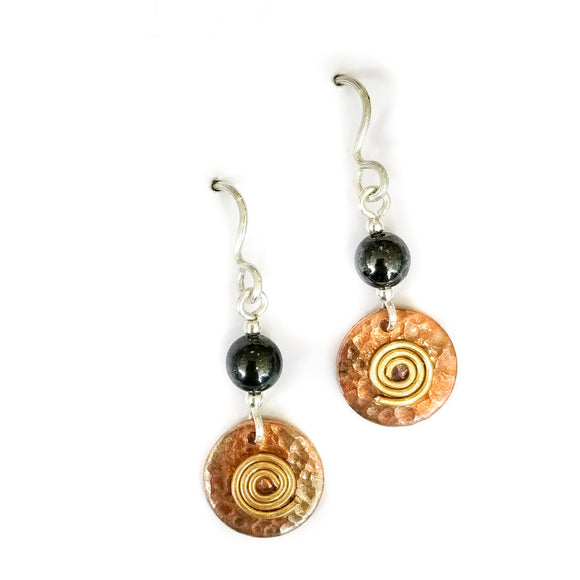Drop copper earrings with haematite.