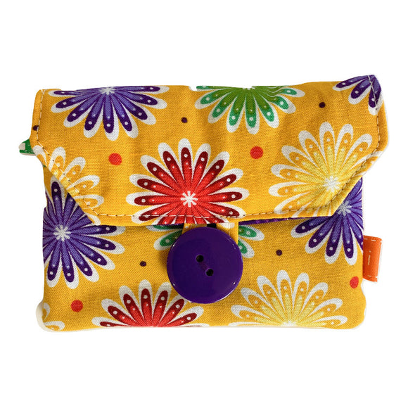 Fabric Purse with Zip Pocket - Colourful Daisies
