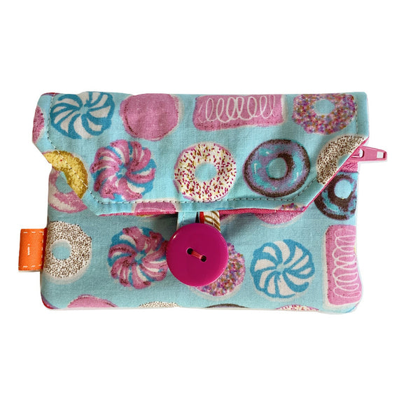 Fabric Purse with Zip Pocket - Doughnuts