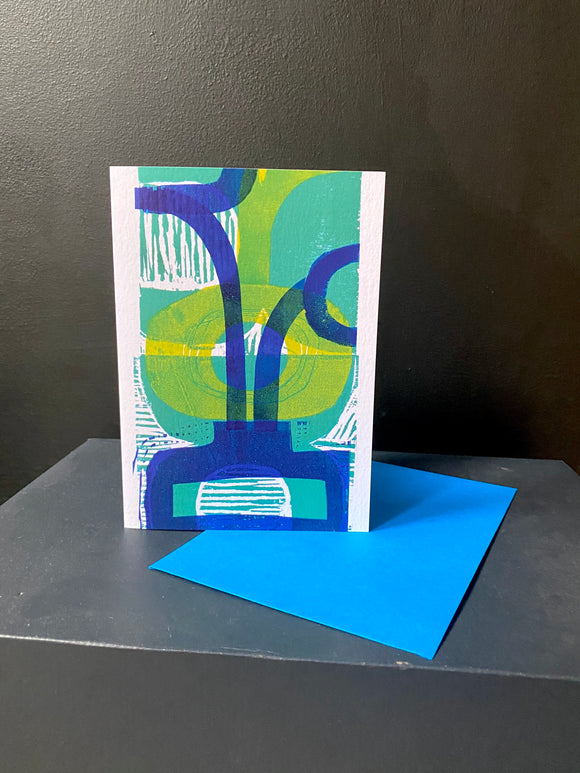 Greens and Blues Abstract Greeting Card