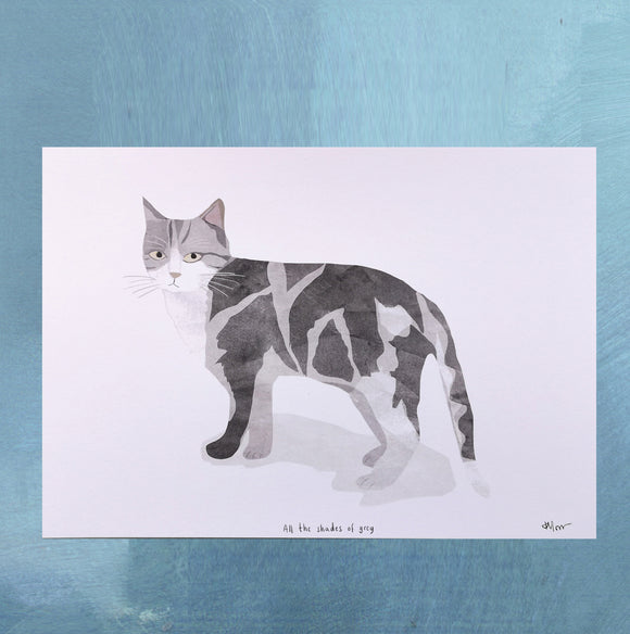 A4 Grey and White Cat Digital Print