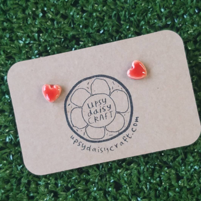 Ceramic Heart Studs - Red