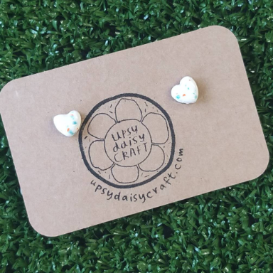 Ceramic Heart Studs - White Speckle