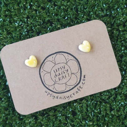 Ceramic Heart Studs - yellow