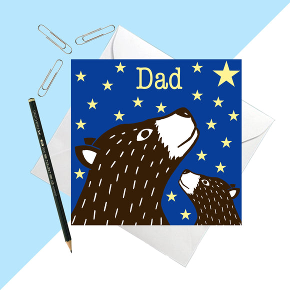 Bear Print Dad Greetings Card