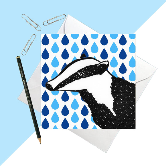 Rainy Days Badger Greetings Card