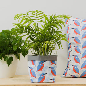 Kingfisher Print Textile Plant Pot