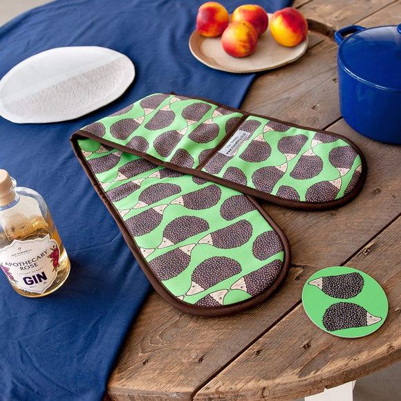 Hedgehog Print Double Oven Gloves