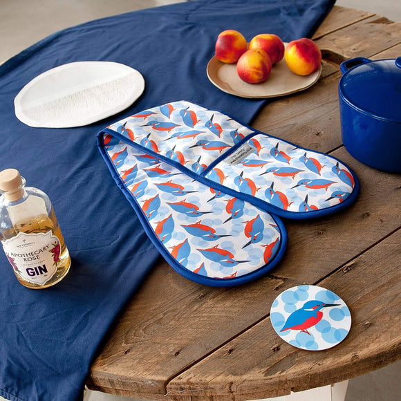 Kingfisher Print Double Oven Gloves