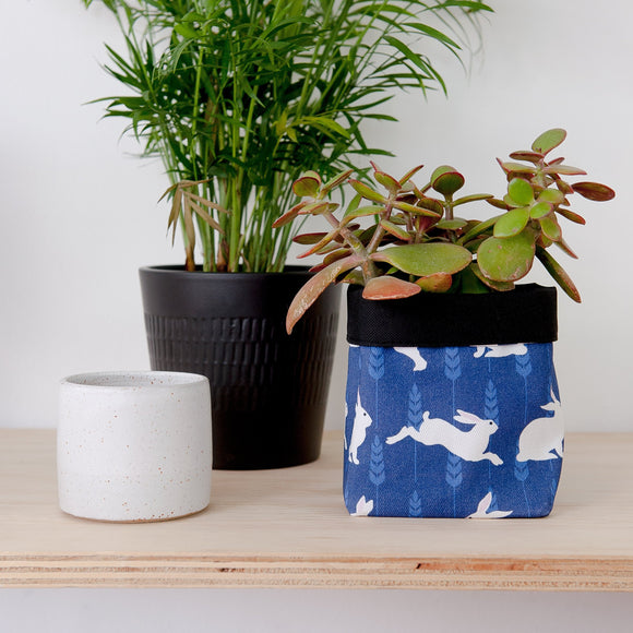 Rabbit Print Textile Plant Pot