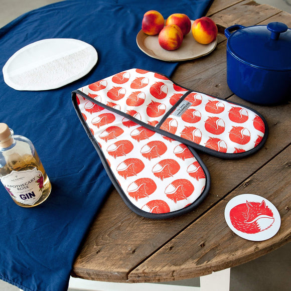 Fox Print Double Oven Gloves