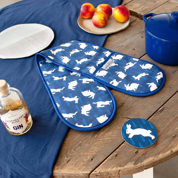 Rabbit Print Double Oven Gloves