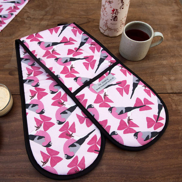 Bullfinch Print Double Oven Gloves