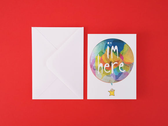I'm here new baby card
