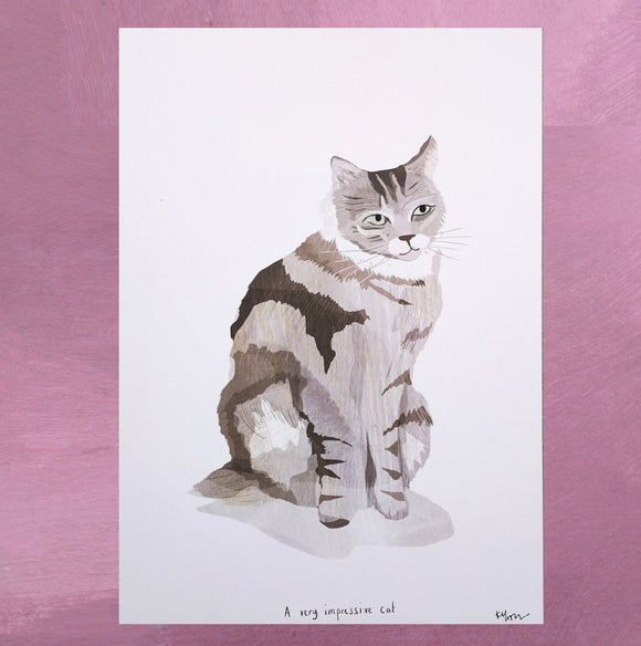 A4 Grey Fluffy Cat Print