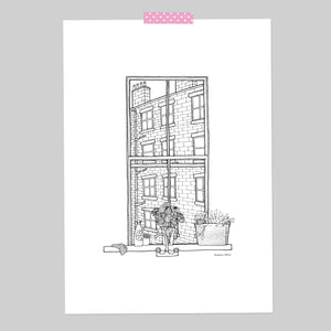 Terraced Houses Window A4 Illustration Print