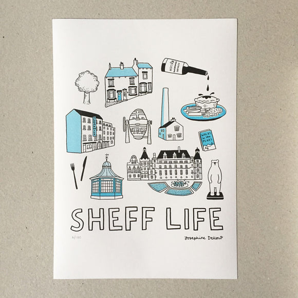 Sheff Life Risograph A3 Illustration Print