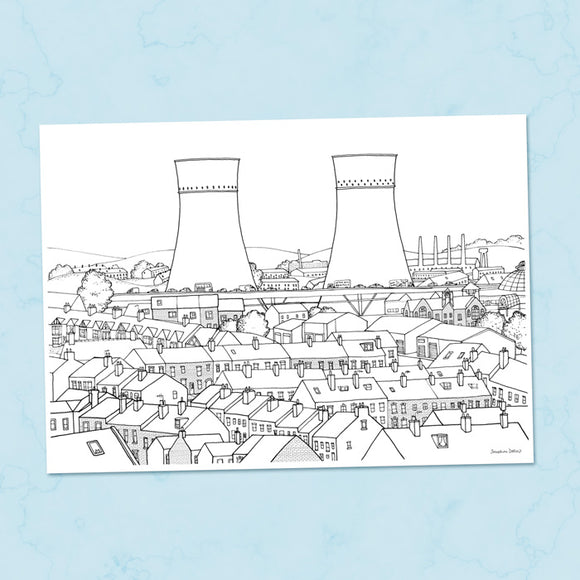 Tinsley Cooling Towers Sheffield A4 Illustration Print