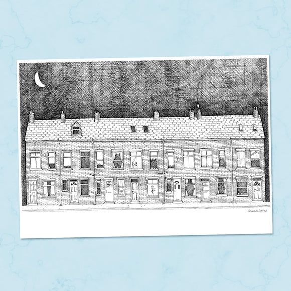 Terraced Houses A4 Illustration Print