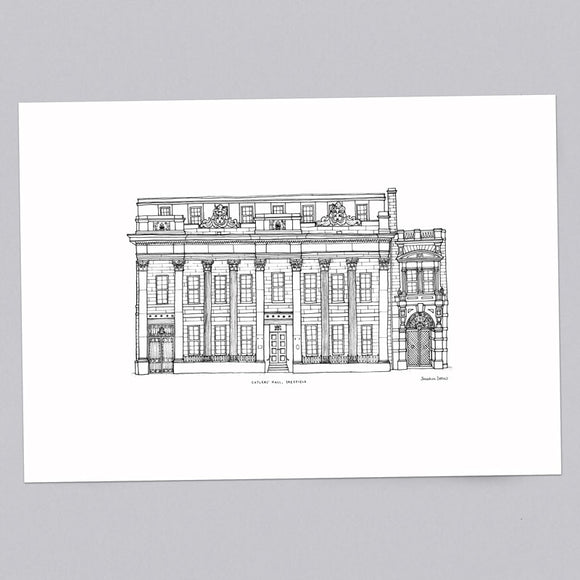 Cutlers Hall Sheffield A3 Illustration Print